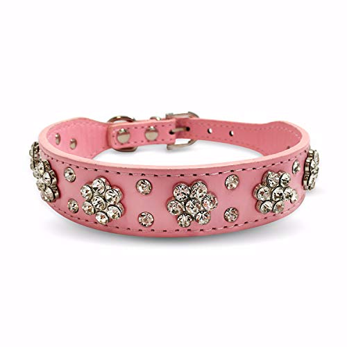 PET&CUDDLE Genuine Leather Adjustable Girl Dog Collar, 1 inch Wide Embellished Crystal Diamond Rhinestone Dog Collar - Pink, Black, Red for Small to Medium Dogs ()