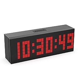 CHKOSDA Digital Alarm Clock, 2 LED Digits Countdown Clock, 3 Adjustable Brightness, Snooze, 16 Alarm Settings, Calendar and Temperature, Mute Digital Clock for Bedroom, Bedside, Office(Red)