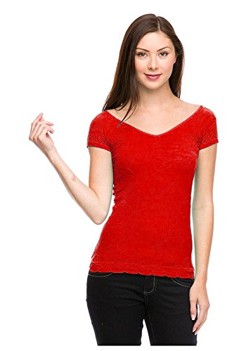 G2 Chic Women's Off-Shoulder Wide Neck Stretchy Knit T-Shirt Top(TOP-CAS,RED-OS)