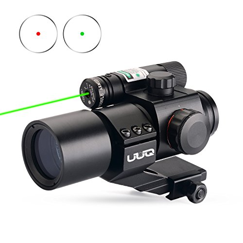 UUQ Tactical 1X30 Green & Red Dot Sight for Rifles & Shotguns W/ Green Laser, Picatinny Cantilever PEPR (Green Shotgun Sights)