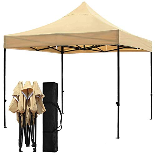Snail 10x10-FT Easy Pop up Canopy Tent with Heavy Duty 420D Waterproof and UV-Treated Cover, Shade for Beach Outdoor Commercial Tent Instant Sun Shelter Gazebo with Carrying Bag, Khaki