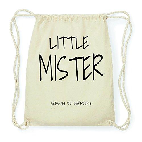 JOllify SCHWAIG BEI NÜRNBERG Hipster Turnbeutel Tasche Rucksack aus Baumwolle - Farbe: natur Design: Little Mister n514p3Qit