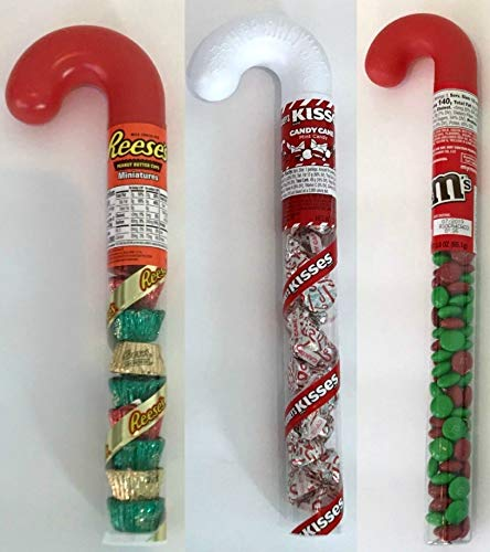 3 Plastic Filled Christmas Canes - Reese's Peanut Butter Cup, Kisses and Christmas M & M's