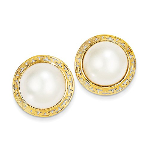 14k Yellow Gold 14-15mm Cultured Mabe Pearl Stud - Earrings Mabe Pearl Gold