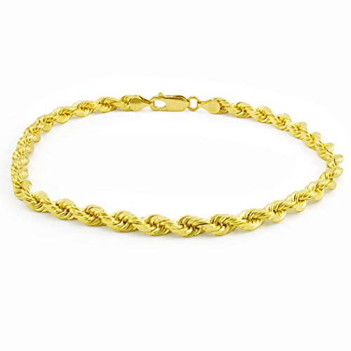 Men's 14k Yellow Gold Solid 5mm Diamond Cut Rope Chain Bracelet, 8