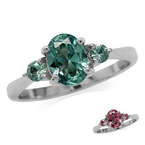 Simulated Color Change Alexandrite White Gold Plated 925 Sterling Silver Engagement Ring Size -