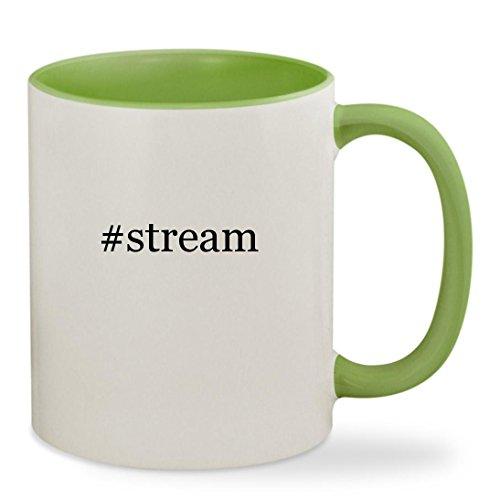 #stream - 11oz Hashtag Colored Inside & Handle Sturdy Ceramic Coffee Cup Mug, Light Green