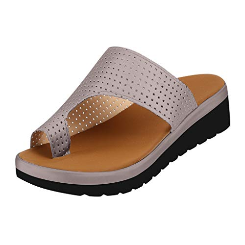2019 New Women Comfy Platform Toe Ring Wedge Sandals Shoes Summer Beach Travel Shoes Comfortable Flip Flop Shoes Gray