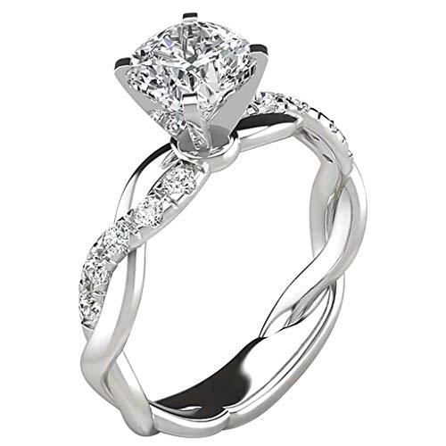 Damen Ring, Klassische und Elegante Zirkonia Trauringe Damenring Hochzeitsringe Antragsring Memoirering Ringe , Damen Schmuck (Silber, 7)