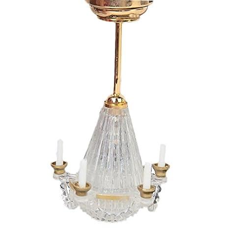 Dcolor 1:12 miniaturas dollhouse luz destacan Cinco Falso candelabro vela transparente LED de Oro