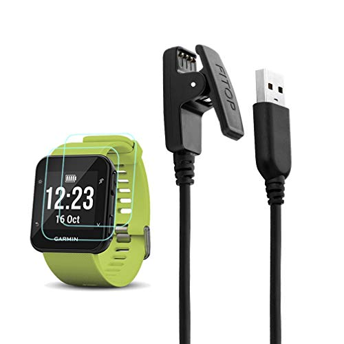 X1 for Garmin Forerunner 35 Charger Charging Clip Synchronous Data Cable + 2Pcs Free HD Tempered Glass Screen Protector Replacement Charger for Garmin Foreruuner 35 Smart Watch