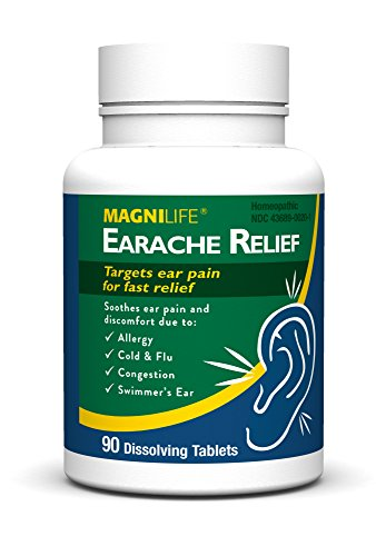 MagniLife Earache Pain and Discomfort Relief Treatments: Cold/Flu, Congestion, Swimmer's Ear and More (90 Tablets) -