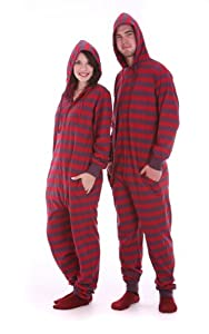 Funzee Adult Onesie Non Footed Pajama Striped Red/Mauve XS-XXL Size on Height
