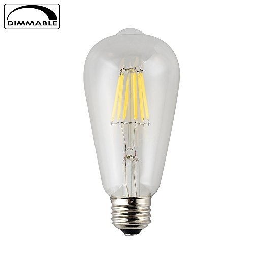 Edison Style Vintage ST64(ST21) Bulb with LED Filament, E26 Screw Base Lamp,4000K Natural White,600LM 60W Incandescent Bulb Equivalent(6W Natural White-1 Pack) (1 Ct Natural)