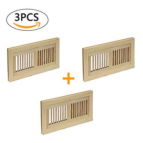 - Welland 3 PCS Set Hickory 4X12 inch Flush Mount Vents with Frame,Unfinished Floor Register