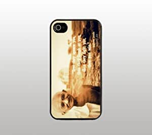 Mahatma Gandhi Quote Snap-On Case for iPhone Apple 4 4s - Hard Plastic - Black - Cool Custom Cover - Inspirational Quotes