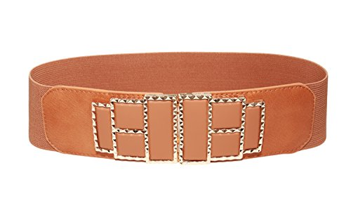 Modeway Women's Wide Golden Buckle Elastic Belts For Women(XL-XXL,Brown)AX03-3