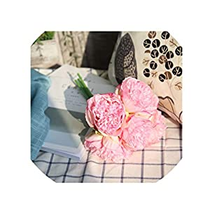 crystal004 5 Heads Artificial Peony Flowers Bridal Bouquet DIY Silk Flower Artificial Flower Bouquet for Home Wedding Decoration,Deep Pink 29