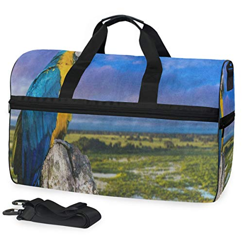 - Blue And Yellow Macaw Bird Landscape Nature Gym Bags for Men&Women Duffel Bag Overnight Yoga Bag with Shoe Compartment