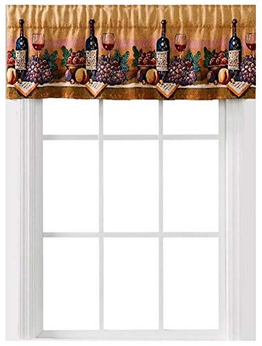 Home Fashions Wine Country Tapestry Window Curtain Valance ()