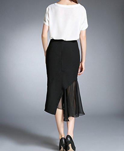 CHENGYANG Femme Midi Uni Asymetrique Jupe Moulant Crayon Taille Haute Longue Jupe Cocktail Noir#4