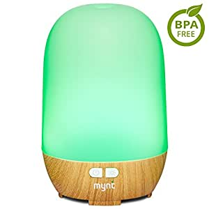 Mynt Essential Oil Diffuser Woodgrain Cool Mist 100ml Humidifier 10+ Hours with 7 Colors LED Lights BPA Free Waterless Auto Shut-Off for Home Office Bedroom Baby Room