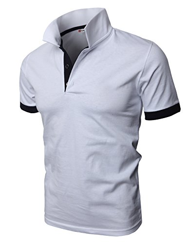 H2H Men's Fashion T-Shirt Cotton Striped Long-Sleeved Polo Shirt White US L/Asia 3XL (KMTTS0448)
