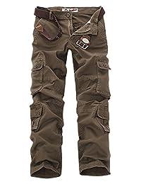 AUBIG Men's Cotton Multi Pockets Ripstop Work Pants Trousers