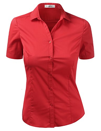 DOUBLJU Womens Slim Fit Plus Size Office Work Wear Short Sleeve Collared Blouse Shirt RED X-Large