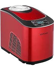 MVPower ijsmachine ijsmaker 2L met compressor 140W, automatische zelfkoelende ijsmachine, lcd-scherm, twee opties (zacht of hard ijs), voor ijs, yoghurt en sorbet, rood