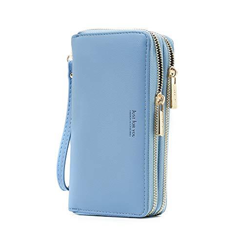(Cyanb PU Leather Wristlet Cellphone Clutch Wallet Long Purse with Dual Zipper Removable Wrist Strap Blue)
