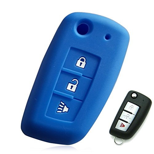 Massimiliano Incas Dobrev 3 Button Silicone Case Protector Key Fob Cover Smart Car Remote Holder for 2014-2017 Nissan Rogue FLIP Key (Blue)