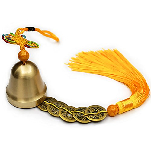 Lalago Chinese Feng Shui Bell for Wealth and Safe, Pendant Coins for Success, Ward off evil, Protect Peace - Also Can Used As Wind Chimes, Car Interiors - Gold Ornament Bell