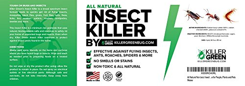 All Natural Non toxic Insect Killer Spray by Killer Green - 16 oz. - Kills on cockroaches, Ants, Mosquitos, Spiders. !00% Money Back Guarantee - Safe for People, Plants and Pets by Killer Green (Image #1)