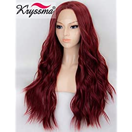 K'ryssma 22 inches Wine Red Lace Front Wigs Burgundy Synthetic Wig for Women Glueless Long Wavy Hair Wigs Heat Resistant…