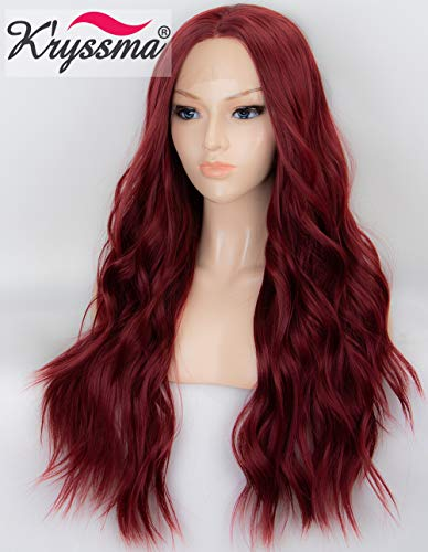 K'ryssma 22 inches Wine Red Lace Front Wigs Burgundy Synthetic Wig for Women Glueless Long Wavy Hair Wigs Heat Resistant Middle -