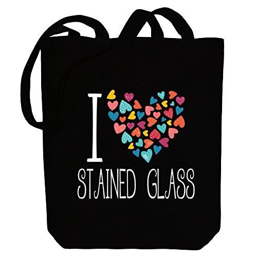 Idakoos I love Stained Glass colorful hearts - Hobbies - Bereich für Taschen