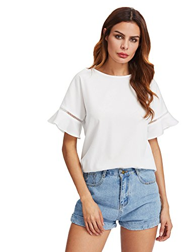 MakeMeChic Women's Loose Short Sleeve Round Neck Solid Summer T-shirt Tops Blouse