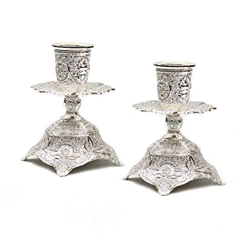 Quality Judaica Modern Silverplated Shabbat Candlesticks With Filigree, Non-Tarnish - Filigree Candlesticks