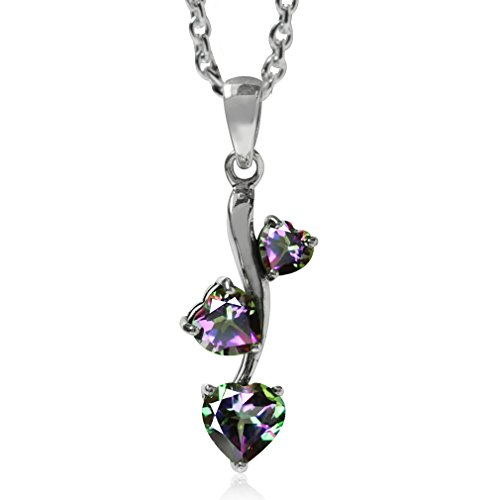 1.72ct. Heart Shape Mystic Fire Topaz 925 Sterling Silver Pendant w/ 18 Inch Chain Necklace