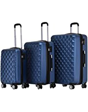 BEIBYE Zwillingsrollen 2066 Hartschale Trolley Koffer Reisekoffer Gepäck M-L-XL-Set (Blau, Set)