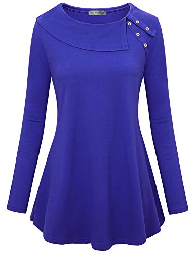 (Miss Fortune 1x Women's Tunic Plus Boutique Tops Stylish Classy Tunics with Pockets Fall Shirts Royal Blue)