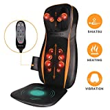 Shiatsu Back Massager Massage Chair with Heat - Massage Seat Cushion with Deep Tissue Kneading, Neck Height Adjustable, and Vibration, Muscle Pain Relief at Home and Office
