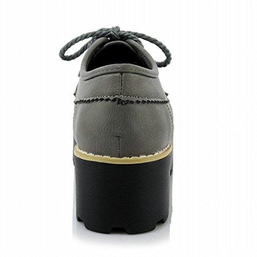 Latasa Kvinna Mode Tofs Spets-up Plattform Oxford Skor Grå