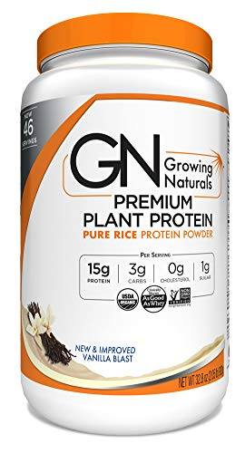 Growing Naturals Organic Premium Rice Protein Powder, Vanilla, 32.8 Ounce