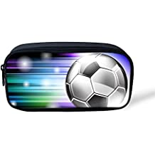 Boys School Pencil Case Large Stationery Pouch Washable Pen Carrier Case Soccer Football Print Office Supplies