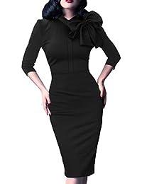 Women's Celebrity Vintage Bowknot Party Cocktail Stretch Bodycon Dress