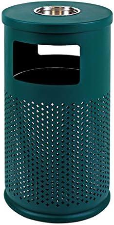 屋外グリッドゴミ箱メタリックペイント垂直シリンダー灰皿バレル大ピールバケットパンチダストビンコリドーホテル (Color : Green)
