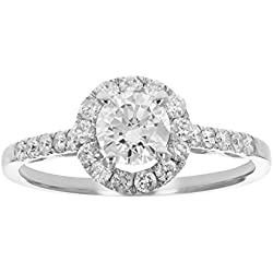 1 CT Diamond Engagement Ring 14K White Gold Size 7