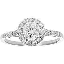 1 CT Diamond Engagement Ring 14K White Gold Size 7